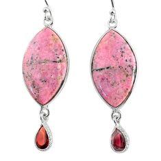 20.40cts natural pink rhodonite in black manganese 925 silver earrings r75645