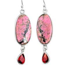 17.96cts natural pink rhodonite in black manganese 925 silver earrings r75647