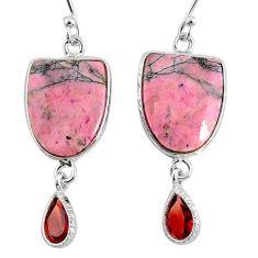 15.31cts natural pink rhodonite in black manganese 925 silver earrings r75649