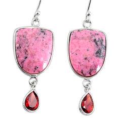 16.71cts natural pink rhodonite in black manganese 925 silver earrings r75650