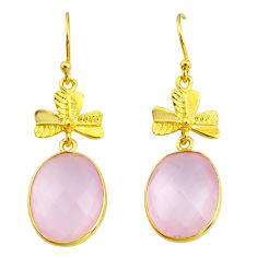17.29cts natural pink rose quartz 14k gold handmade dangle earrings t11433