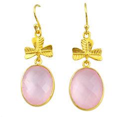 16.74cts natural pink rose quartz 14k gold handmade dangle earrings t11518