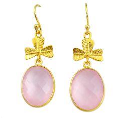 17.35cts natural pink rose quartz 14k gold handmade dangle earrings t11520