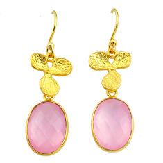 11.23cts natural pink rose quartz 14k gold handmade dangle earrings t11682