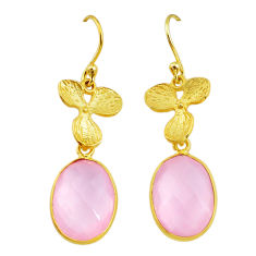 13.64cts natural pink rose quartz handmade14k gold dangle earrings t16413