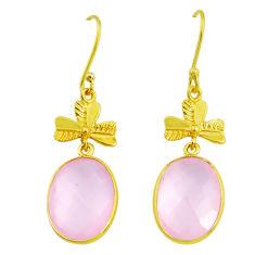 15.34cts natural pink rose quartz handmade14k gold dangle earrings t16451