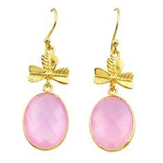 15.90cts natural pink rose quartz 925 silver 14k gold dangle earrings t44129