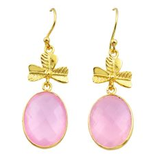 14.67cts natural pink rose quartz 925 silver 14k gold dangle earrings t44131