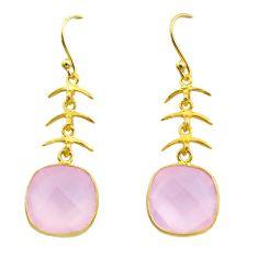 10.67cts natural pink rose quartz 925 silver 14k gold dangle earrings t44179