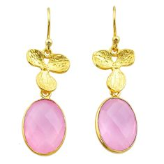11.74cts natural pink rose quartz 925 silver gold birds charm earrings t44056