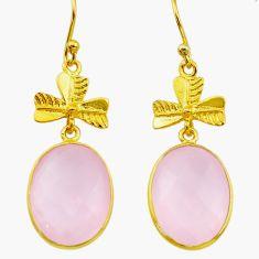 12.57cts natural pink rose quartz handmade 14k gold dangle earrings t16390