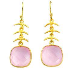 11.93cts natural pink rose quartz handmade 14k gold dangle earrings t16429
