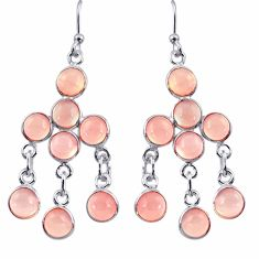 11.73cts natural pink rose quartz 925 sterling silver chandelier earrings r37431