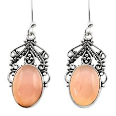 Clearance Sale- 11.89cts natural pink rose quartz 925 sterling silver dangle earrings d40992