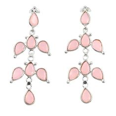 14.59cts natural pink rose quartz 925 sterling silver dangle earrings r33102