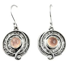 2.47cts natural pink rose quartz 925 sterling silver dangle earrings r35145