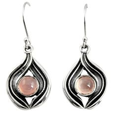 2.56cts natural pink rose quartz 925 sterling silver dangle earrings r35164