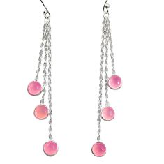 5.20cts natural pink rose quartz 925 sterling silver dangle earrings r37584