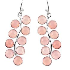 14.17cts natural pink rose quartz 925 sterling silver dangle earrings r38670