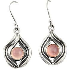 1.99cts natural pink rose quartz 925 sterling silver dangle earrings r42064