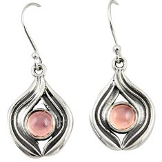 1.90cts natural pink rose quartz 925 sterling silver dangle earrings r42069