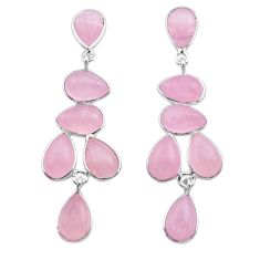 17.49cts natural pink rose quartz 925 sterling silver dangle earrings t30194