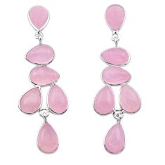 18.82cts natural pink rose quartz 925 sterling silver dangle earrings t30292