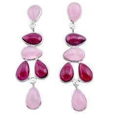 18.07cts natural pink rose quartz garnet 925 silver dangle earrings t30191