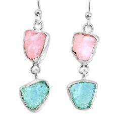 9.83cts natural pink rose quartz raw 925 silver dangle handmade earrings r74242