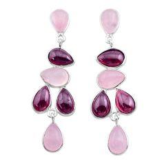 19.92cts natural pink rose quartz red garnet 925 silver dangle earrings t30293