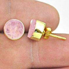 6.70cts natural pink rose quartz raw 925 silver 14k gold stud earrings t52322