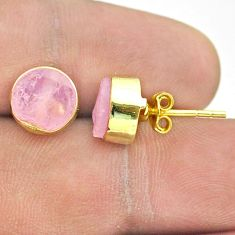 6.74cts natural pink rose quartz raw 925 silver 14k gold stud earrings t52323