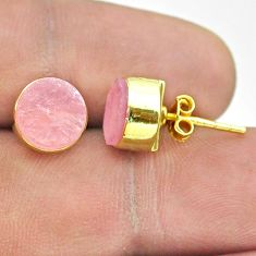 6.29cts natural pink rose quartz raw 925 silver 14k gold stud earrings t52325