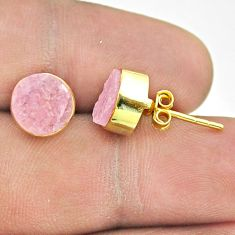 6.27cts natural pink rose quartz raw 925 silver 14k gold stud earrings t52372