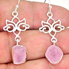 10.26cts natural pink rose quartz raw 925 silver dangle earrings r89975