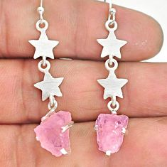 8.42cts natural pink rose quartz raw 925 silver dangle earrings r90765
