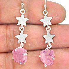 7.45cts natural pink rose quartz raw 925 silver dangle earrings r90769