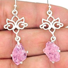 8.21cts natural pink rose quartz raw 925 silver dangle earrings r90771
