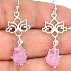 8.03cts natural pink rose quartz raw 925 silver dangle earrings r90772