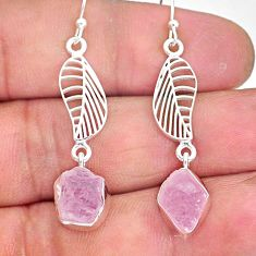 10.56cts natural pink rose quartz raw 925 silver deltoid leaf earrings r89965