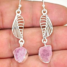 9.64cts natural pink rose quartz raw 925 silver deltoid leaf earrings r89966