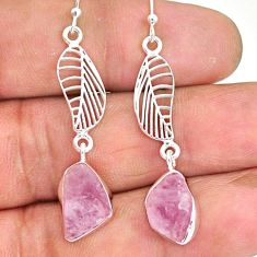 10.97cts natural pink rose quartz raw 925 silver deltoid leaf earrings r89967