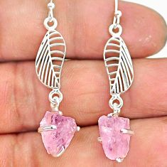 7.52cts natural pink rose quartz rough 925 silver deltoid leaf earrings r90776