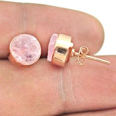6.33cts natural pink rose quartz raw 925 silver rose gold stud earrings t52365
