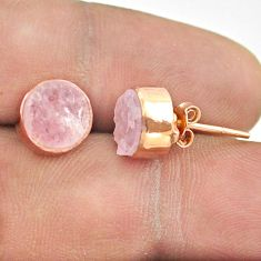 6.33cts natural pink rose quartz raw 925 silver rose gold stud earrings t52368