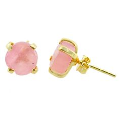 5.60cts natural pink rose quartz raw 14k gold handmade stud earrings t31382