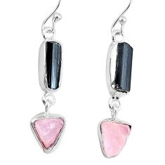 9.37cts natural pink rose quartz raw black tourmaline silver earrings r74261