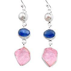 13.71cts natural pink rose quartz raw kyanite pearl 925 silver earrings t38267