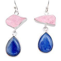 16.87cts natural pink rose quartz raw kyanite silver dangle earrings t38251