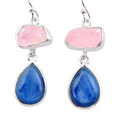 16.54cts natural pink rose quartz raw kyanite silver dangle earrings t38253